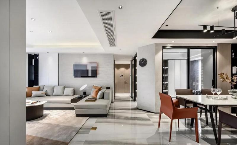 进入空间后,整体现代舒适的空间,正以静谧雅致的姿态迎接着主人的归来。
