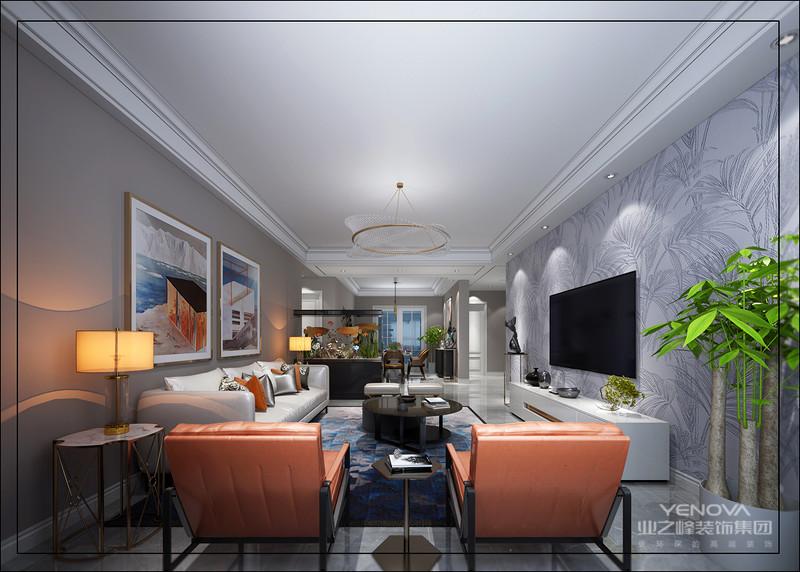 作为沙发和电视墙的背景过渡,还原了一种温暖宁静的生活本味营造敞亮明净的空间氛围