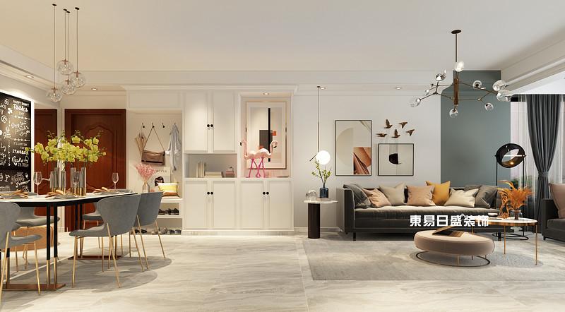 桂林彰泰•花千树复式楼260m²北欧装修风格:客餐厅装修设计效果图