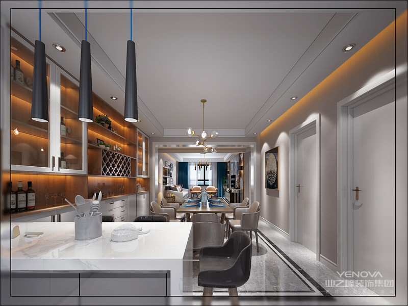 客厅整体空间以现代白色橘黄色调的氛围为主,呈现出一种时尚端庄的现代大气感,更是布置出一种极简的档次雅致。