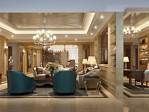 桂林國奧城四居室190㎡歐式裝修風格