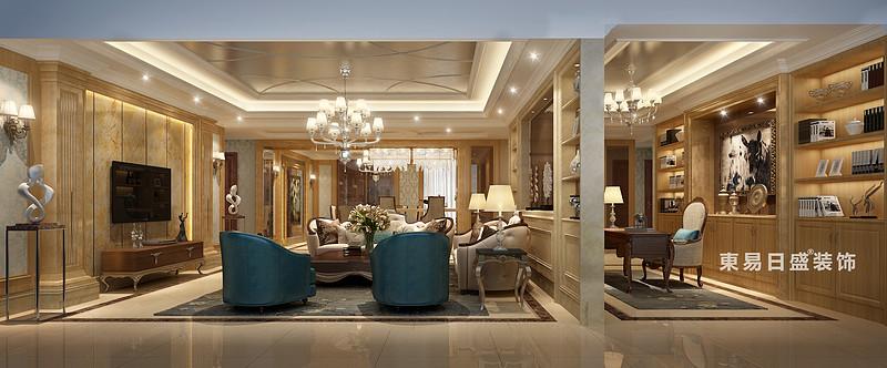 桂林國奧城四居室190㎡歐式風格:客廳書房裝修設計效果圖