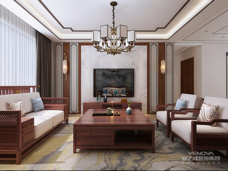 更迎合了业主对生活品质的要求,同时满足了其对中国古典文化的喜好。餐厅与客厅采用了开放式的设计,呈现出一个更为开阔的视觉空间。