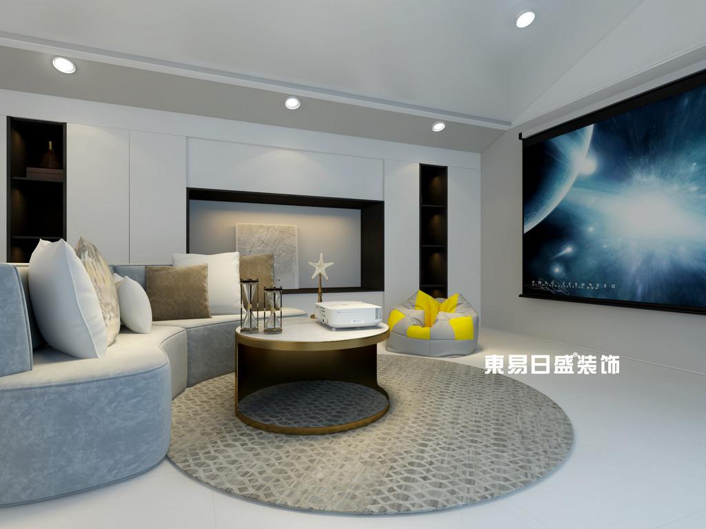桂林彰泰•花千树复式楼260m²北欧装修风格:影音室装修设计效果图