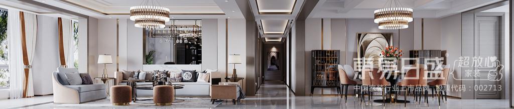黄铜的白色茶几组合的形式构建会客区,其素雅不失高贵,优雅不失温情的调性。