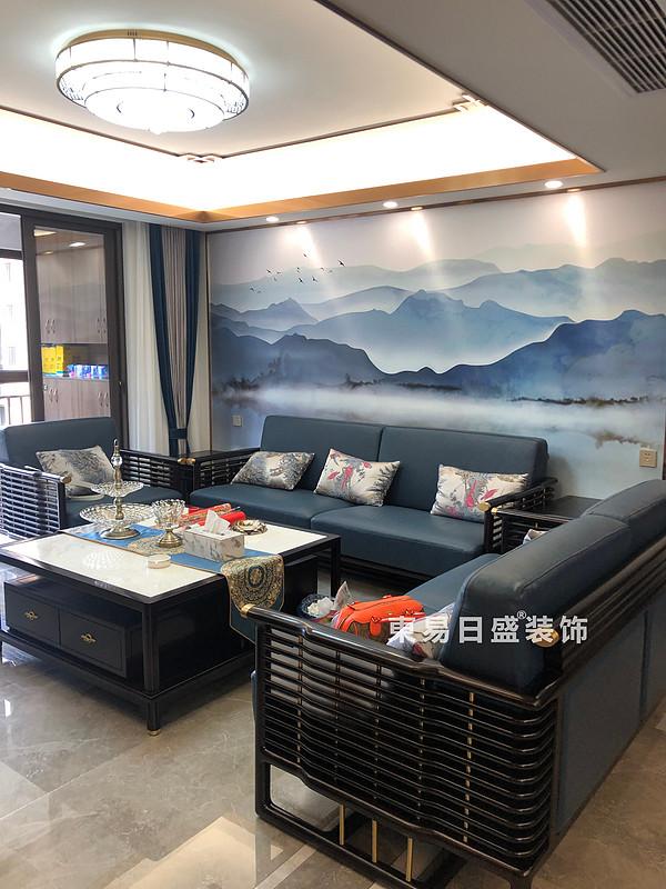 桂林彰泰•桃源居四居室138㎡轻奢中式风格:客厅装修设计实景图