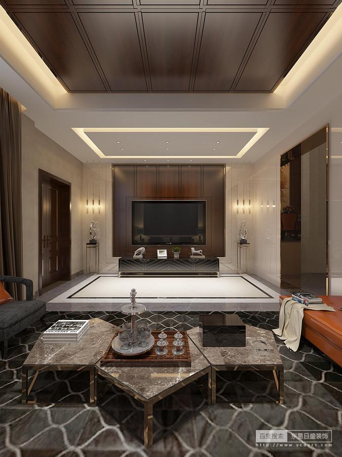 在客厅,这种质感由沙发背景墙一直延伸至天花吊顶,打破墙面与顶面的界限,进而融合成一体,形成完整而又大气的空间感。书房给合运用金属、皮革等材质,简单中透露着奢华!