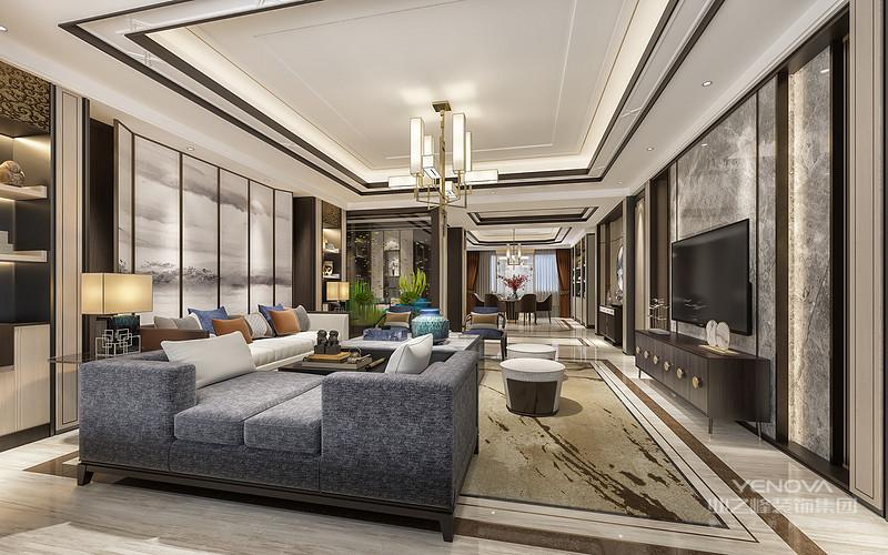 客厅是传统与现代居室风格的碰撞,设计师以现代的装饰手法和家具,结合古典中式的装饰元素,来呈现亦古亦今的空间氛围