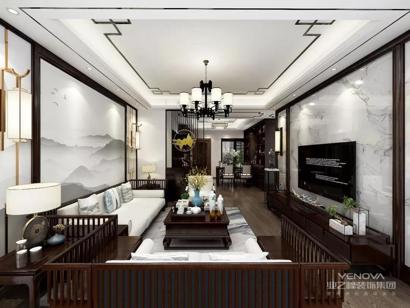 沙发背景墙的造型简洁现代,却在醒目位置饰以中国风山水,这种绝妙的组合给人以强烈的视觉意志力,成为时尚与古典的柔媚结合。