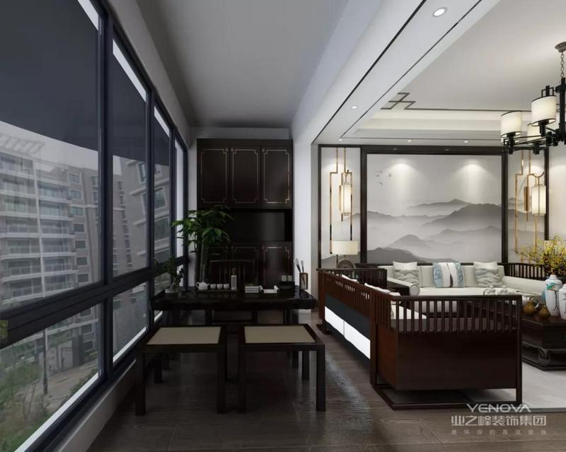 电视机背景墙以人造大理石结合金属条包边作为装饰,配合深色的家具,干净明白。电视柜等陈设则运用了中式风格柜体,壁灯、摆件等元素突出,色泽醇厚,古色古香。