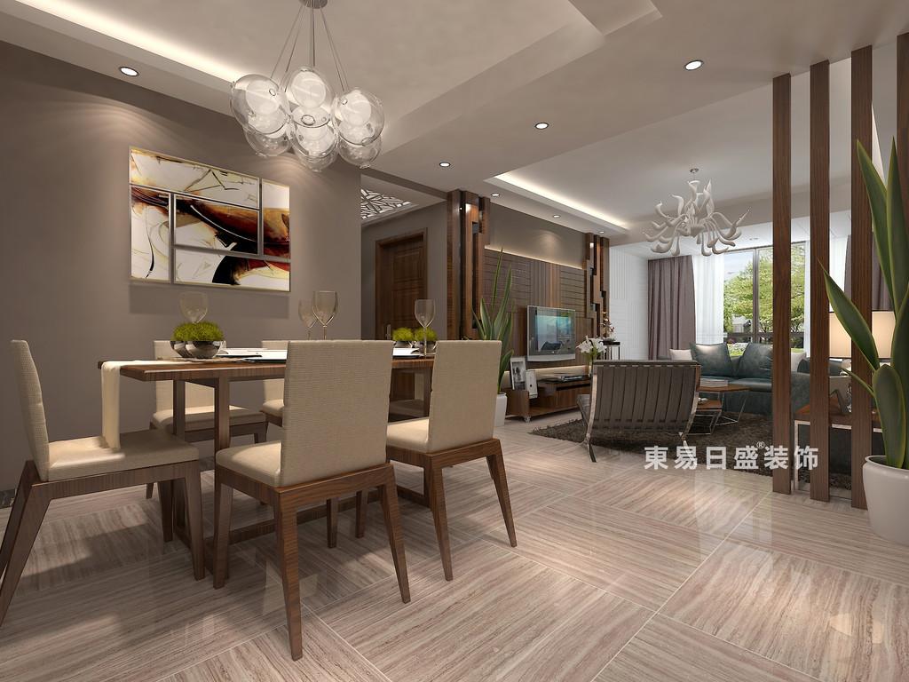 桂林彰泰•睿城二居室90㎡现代风格:客餐厅装修设计效果图