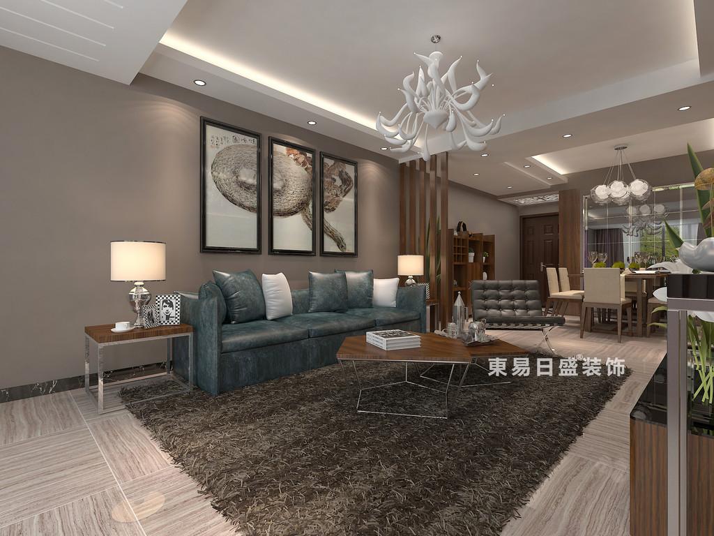 桂林彰泰?睿城二居室90㎡現代風格:客廳背景墻裝修設計效果圖