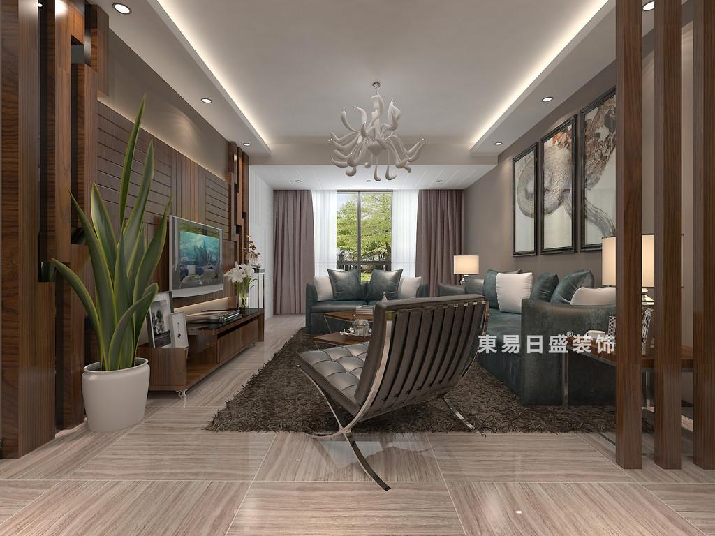 桂林彰泰?睿城二居室90㎡現代風格:客廳裝修設計效果圖