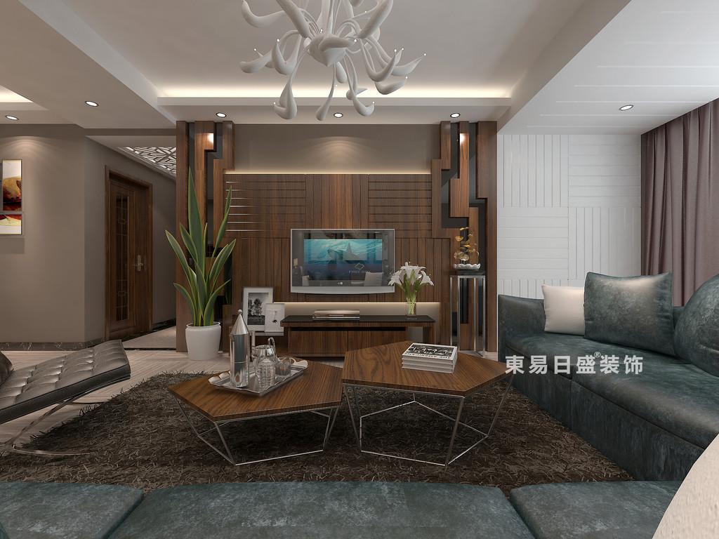桂林彰泰•睿城二居室90㎡现代风格:客厅电视墙装修设计效果图