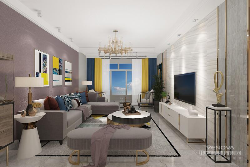 轻奢风格的空间以金属、皮革的中性色调为主,用色彩的纯度传递细腻的质感。造型简洁,线条流畅的家具组合搭配,营造出稳定、协调、温馨的空间感受,满足现代年轻家庭的轻奢需求。