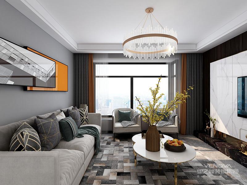 色调搭配是轻奢路线最为经典的用法,灰色为背景,橘色为点缀