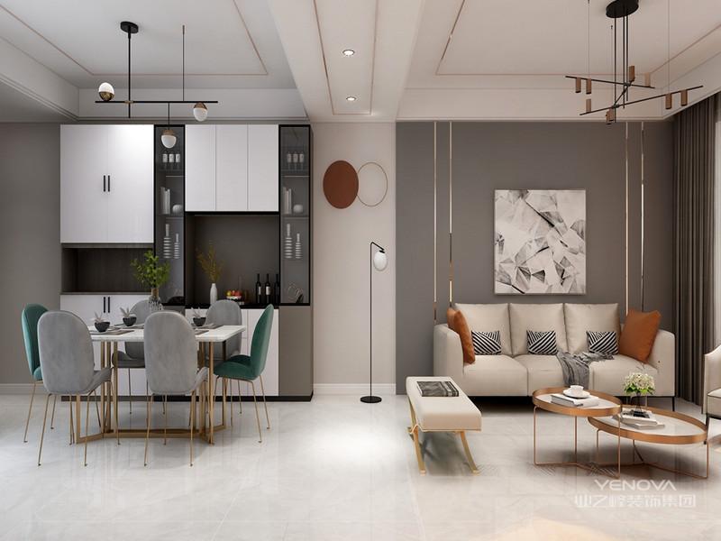 上面的现代简约风格客厅,给人视觉的、精神的享受。白色的沙发、木制的茶几,完美的将时尚与古典融合。