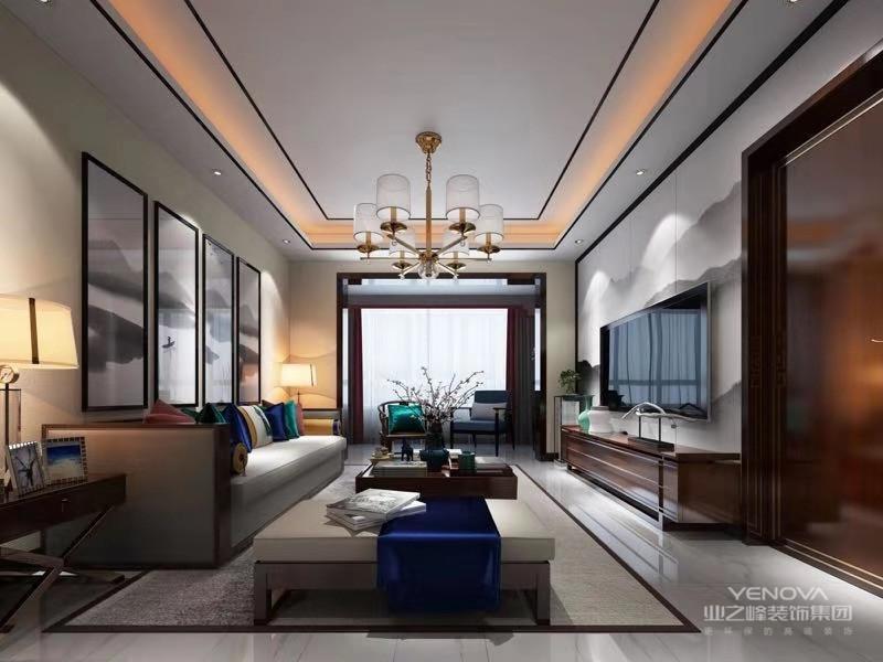 美式客厅风格较多采用嵌入式石膏吊顶,搭配精致的水晶吊顶,营造出一种怀旧、浪漫的感觉。以大理石作为地面装饰材料,光泽感极佳,在沙发区铺上大幅花纹地毯,使空间区域划分更加清晰。