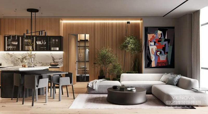 客厅采用原木原色与极简主义风相结合,原木材料的大量运用为整个空间带来了一种典雅的温馨感,未加修饰的木质纹路在地板上蔓延,让人仿佛置身于一个空灵而又纯净的空间。