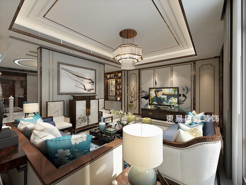 桂林信和信•原乡墅别墅600㎡新中式风格:客厅电视墙装修设计效果图