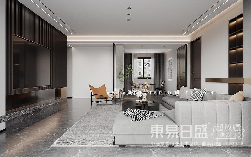 视觉空间看起来很宽敞,灯光效果也很好。客厅家具方面,建议采用灰色色调和金属元素点缀,营造平静而不失时尚氛围。至于对于地板的装饰,可以选择感觉非常舒适的木制地板来装饰,使整个客厅显得简单舒适,显露出一种奢华感。
