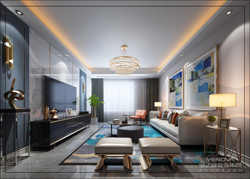 简约挂画给予空间独特气质 沙发一侧的圆几十分别致 令空间感予以保留