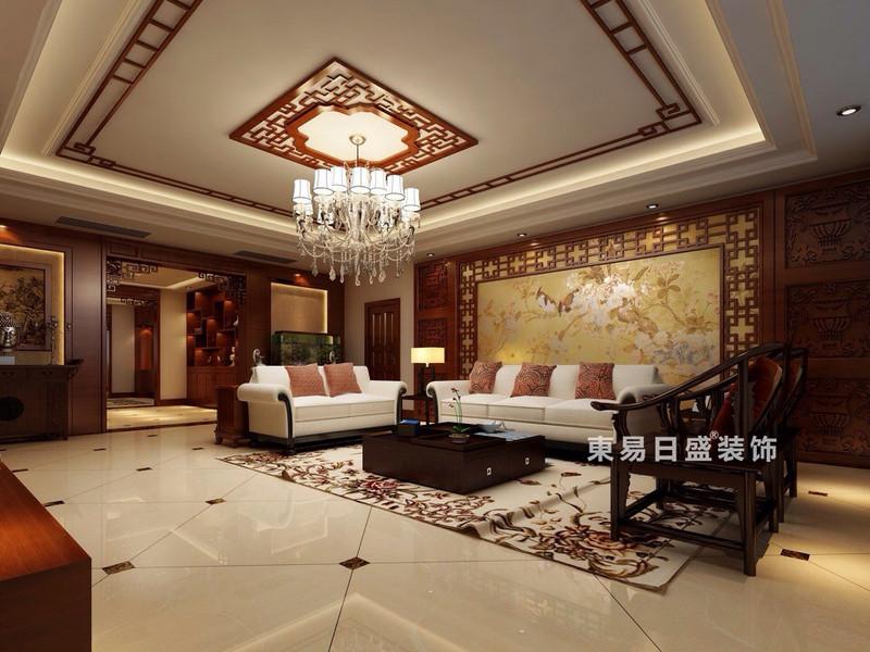 桂林彰泰?春天四居室170㎡新中式風格:客廳裝修設計效果圖