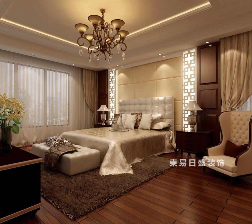 桂林彰泰?春天四居室170㎡新中式風格:主臥室裝修設計效果圖