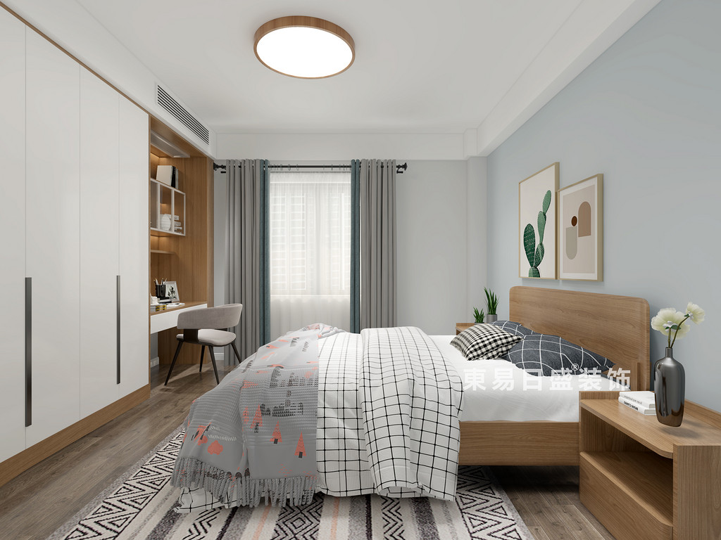 桂林师大三期三房两厅130㎡北欧风格:次卧室装修设计效果图