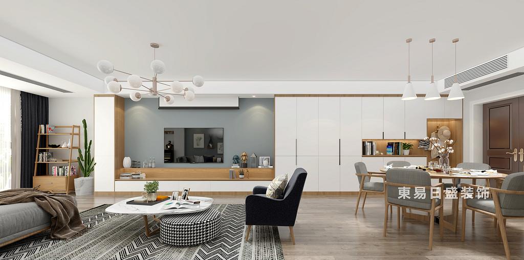 桂林师大三期三房两厅130㎡北欧风格:客餐厅电视墙装修设计效果图