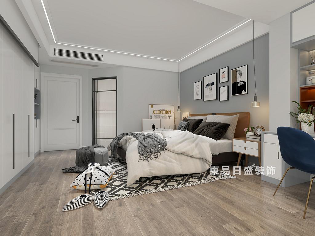 桂林师大三期三房两厅130㎡北欧风格:主卧室装修设计效果图