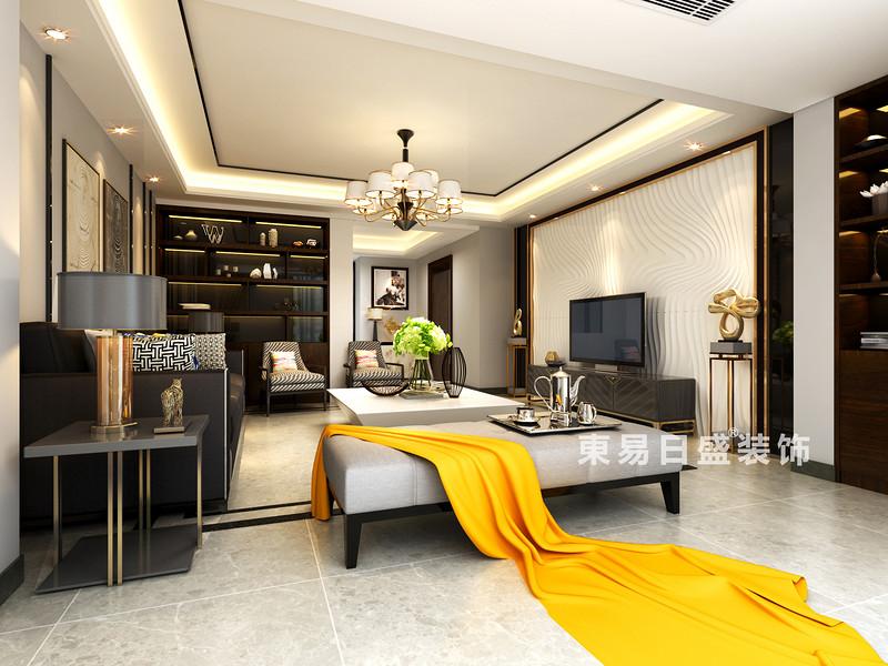 桂林華御公館三居室140㎡現代簡約風格:客廳裝修設計效果圖