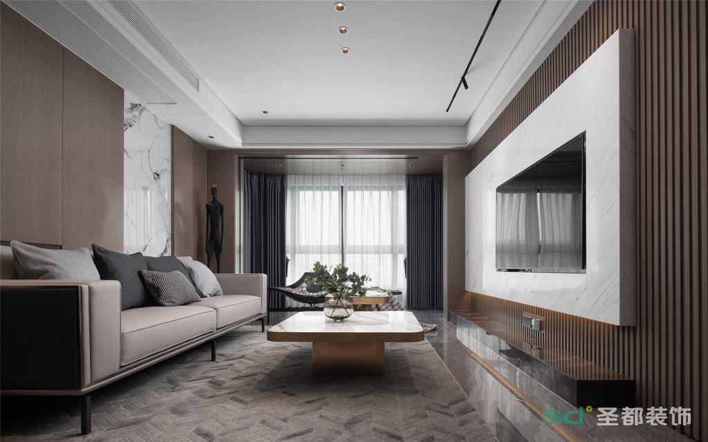 """""""Less is more.""""简约的设计并不意味着简陋,而是于细节处颇为考究,将设计趋于简洁化、功能化,赋予客厅以精致的家居生活氛围。"""