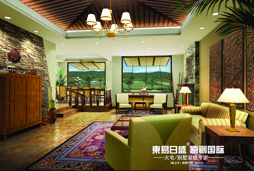 桂林九里香提别墅320㎡东南亚风格:客厅装修设计效果图