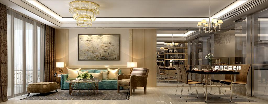碧园印象桂林53#样板房B户型两房两厅80㎡现代轻奢装修风格:客厅餐厅装修设计效果图