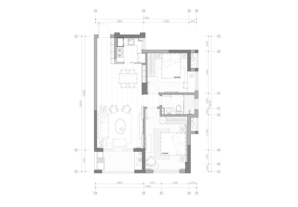 碧園印象桂林53#樣板房B戶型兩房兩廳80㎡平面布置圖