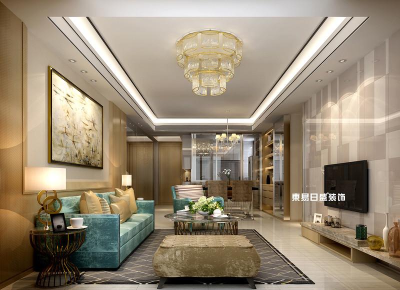 碧园印象桂林53#样板房B户型两房两厅80㎡现代轻奢装修风格:客厅装修设计效果图