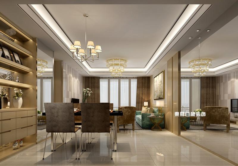 碧园印象桂林53#样板房B户型两房两厅80㎡现代轻奢装修风格:客餐厅装修设计效果图