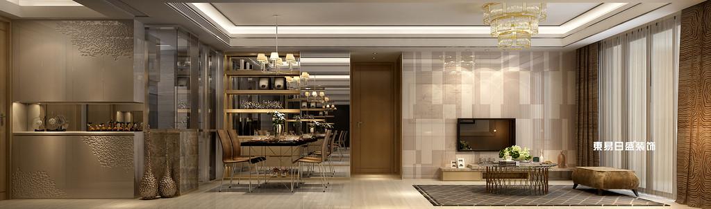 碧园印象桂林53#样板房B户型两房两厅80㎡现代轻奢装修风格:餐厅客厅装修设计效果图