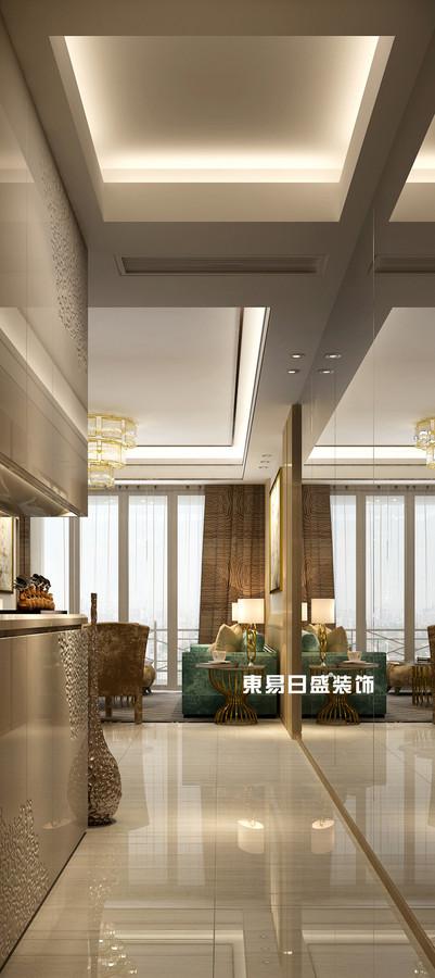 碧园印象桂林53#样板房B户型两房两厅80㎡现代轻奢装修风格:入户装修设计效果图