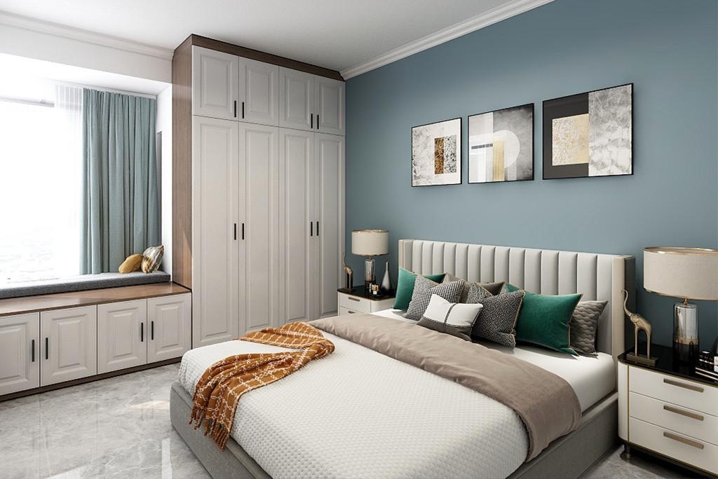 床头左侧的梳妆台与衣柜连贯一体的设计,一面圆形的梳妆镜,整体温润自然的质感与灯光,呈现出温情舒适的浪漫氛围。