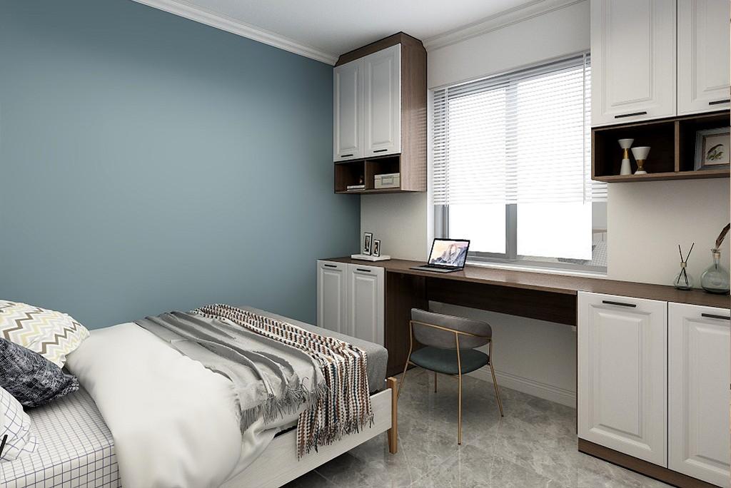 卧室整体空间现代禅意的气质,床头墙以护墙板墙脚+禅意花鸟图案的墙面,搭配上简约自然的床铺床单,营造出舒适轻松的睡眠空间感。