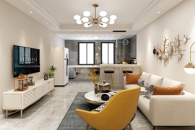 客厅以矮柜作为沙发墙,沙发靠在矮柜上,后方就是一个小休闲区,布置了休闲桌椅,让这个舒适的空间成为主人休闲阅读的好位置。