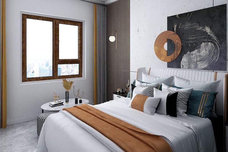 蓝色床头的儿童房床,靠窗布置一张小书桌与休闲椅,床尾墙装上纽扣挂钩,增添空间的情趣感。