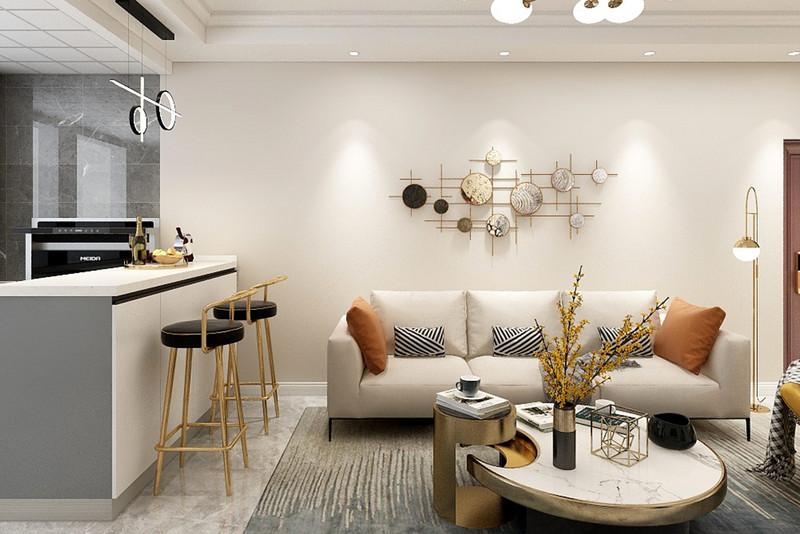 客厅沙发是鲜棕色的皮沙发,摆在这个暖色调的空间里,透露出温情舒适的雅致感。