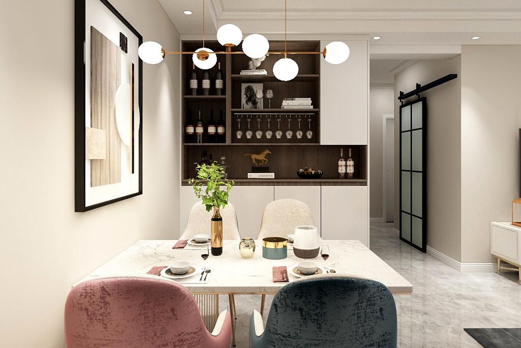 木质的椭圆双拼茶几,摆在这个自然舒适的空间里,靠窗再布置一张蓝色的布艺休闲椅,让客厅更加安静优雅华丽。