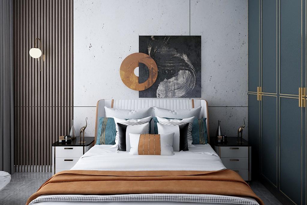 蛋黄色的床头墙,搭配蓝色调的床单,还有木质定制衣柜与百叶帘,都使得卧室更加安静而温馨自然。