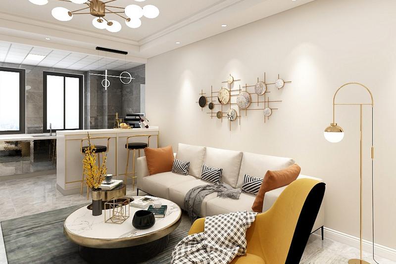 客厅电视墙以定制柜的设计,右侧还留了两列的展示格,让电视墙布置得更加舒适情趣。
