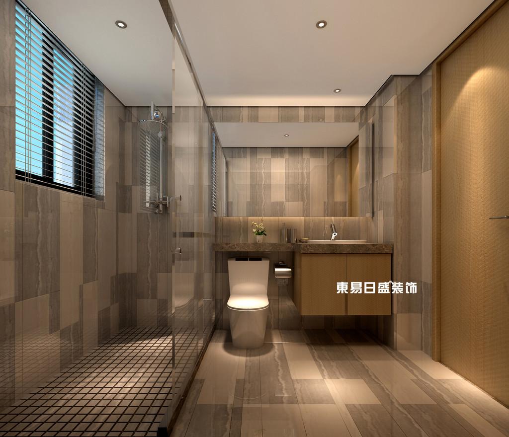 碧园印象桂林53#样板房B户型两房两厅80㎡现代轻奢装修风格:主卫生间装修设计效果图