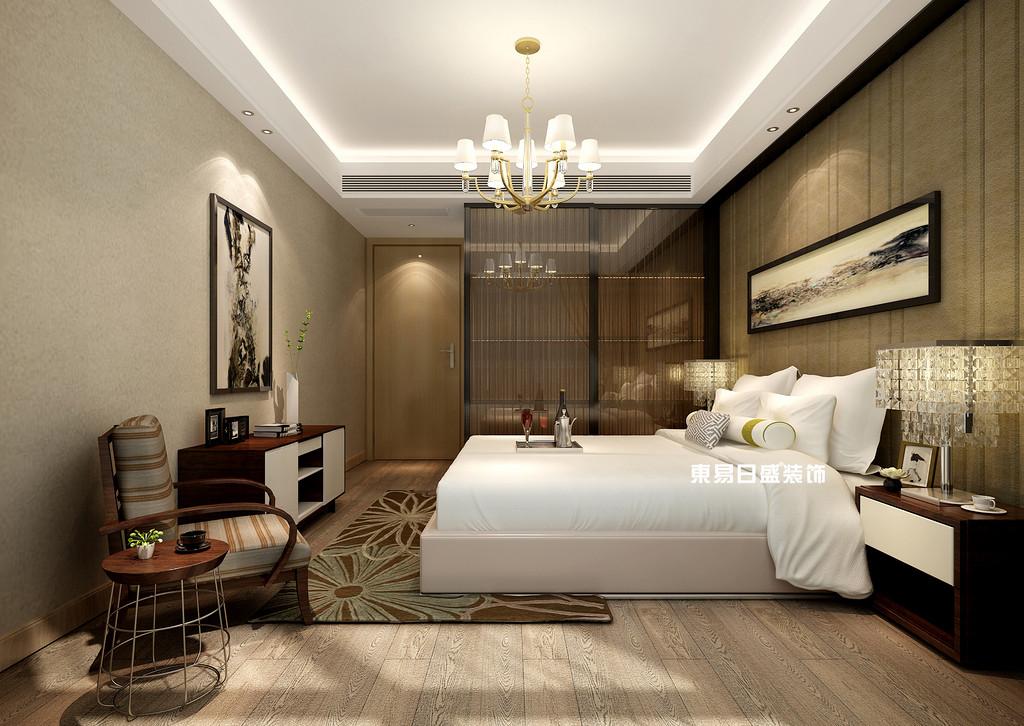 碧園印象桂林53#樣板房B戶型兩房兩廳80㎡現代輕奢裝修風格:主臥室裝修設計效果圖